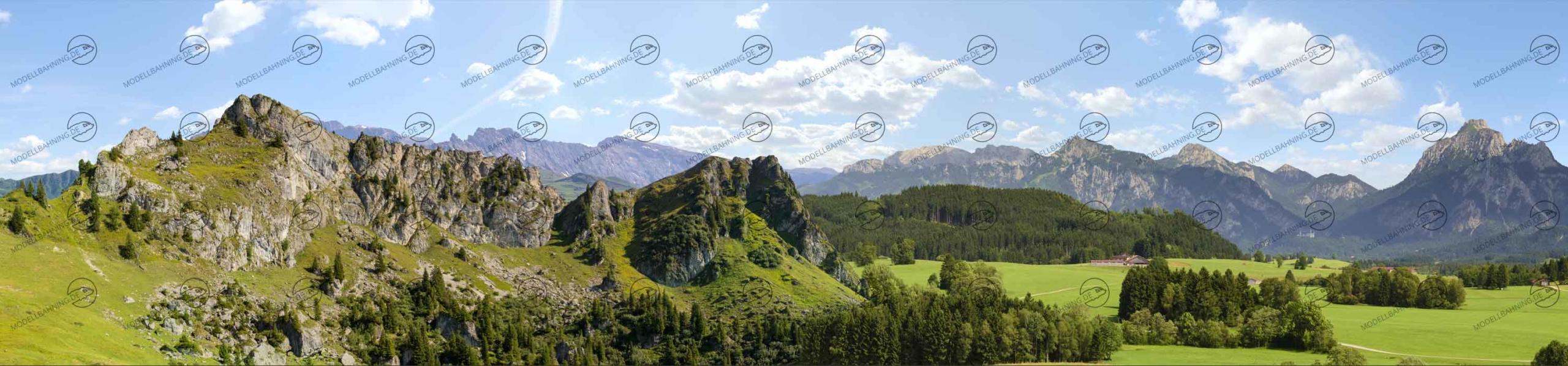 "Allgäu Teil 1 ""Felswand"" – Modellbahn Hintergrund 300cm x 50 cm 1"