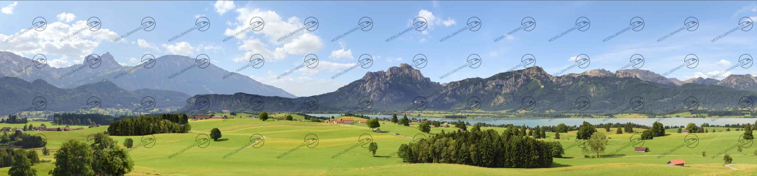 """Allgäu Teil 3 """"Forggensee"""" – Modellbahn Hintergrund 300cm x 70 cm 1"""