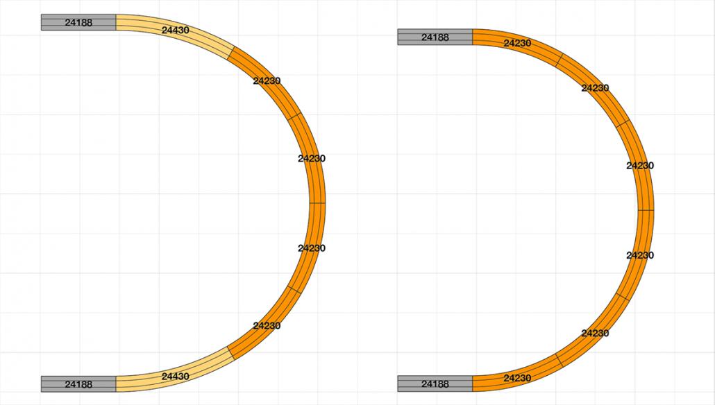 Eine harmonischere 180° Kehre vs. einer herkömmlichen Kehre am Beispiel des Märklin C Gleis