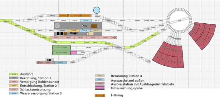 H0 Gleisplan Betriebswerk für Dampflokomotiven mit dem Märklin C-Gleis