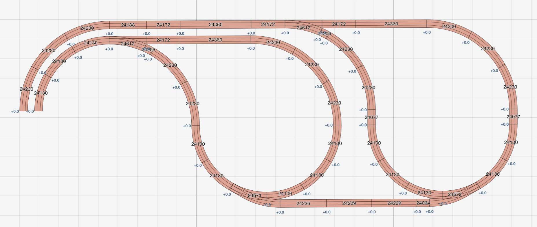 Gleisplan Märklin C Gleis Kehrschleife / Wendeschleife für beide Richtungen mit Verbindungsstrecke Kombination
