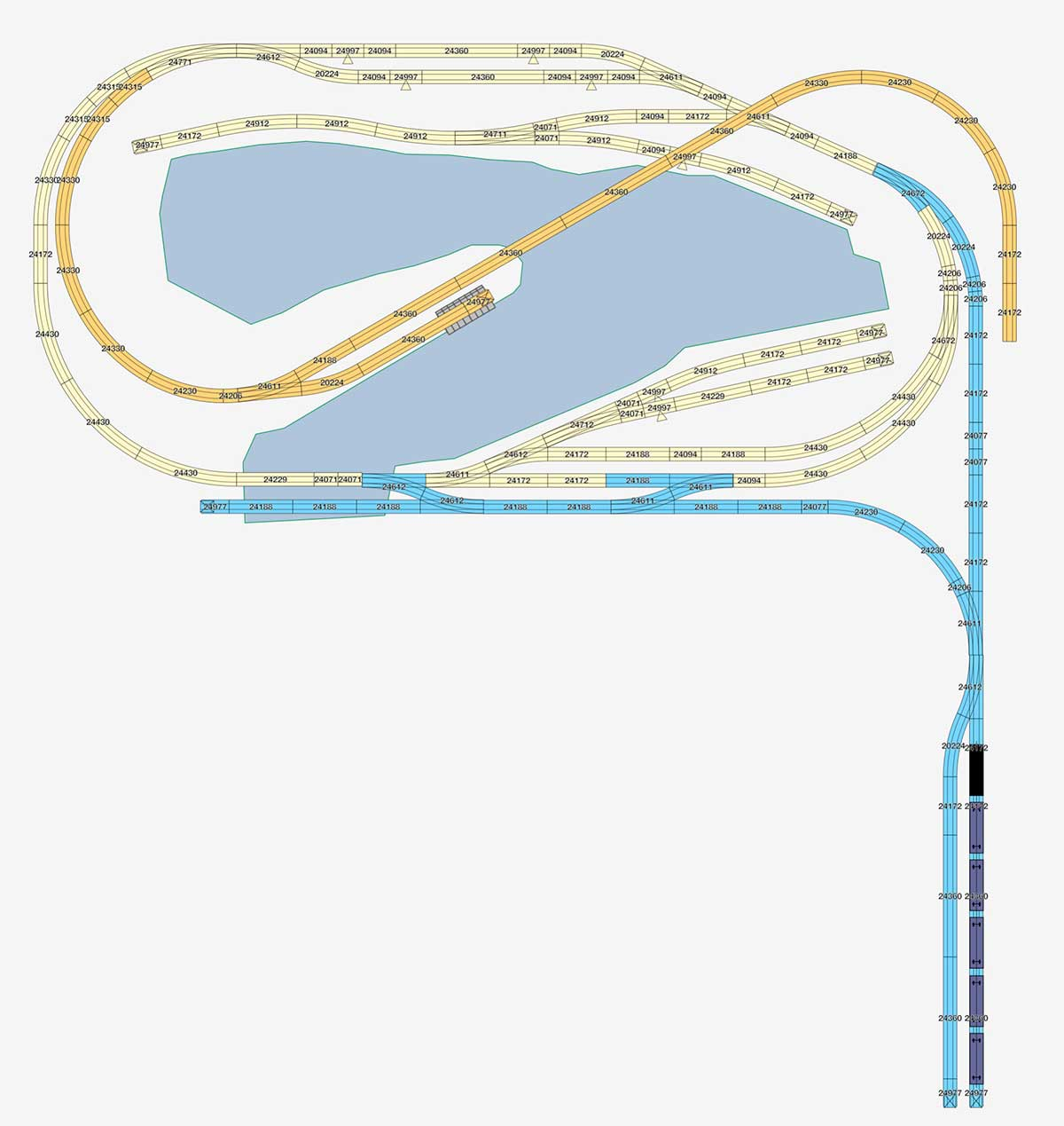 Ebene 0 des H0 Gleisplan: Kleiner Fracht- und Fischereihafen Version mit Gleisdreieck zum Wenden
