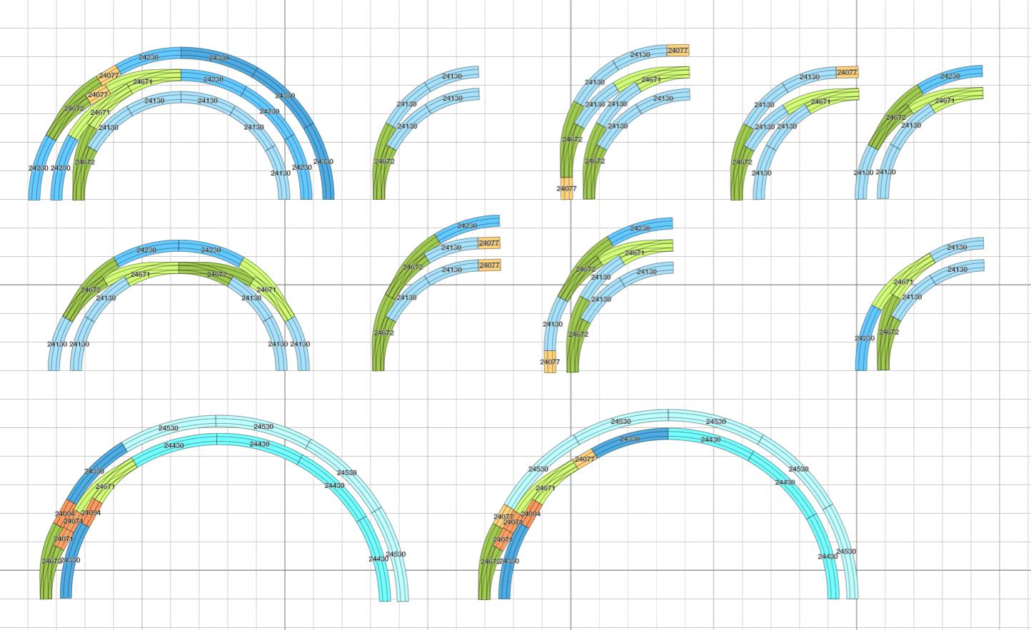 Gleisgeometrie Märklin C-Gleis : Die kleine Bogenweiche in Anwendungsbeispielen