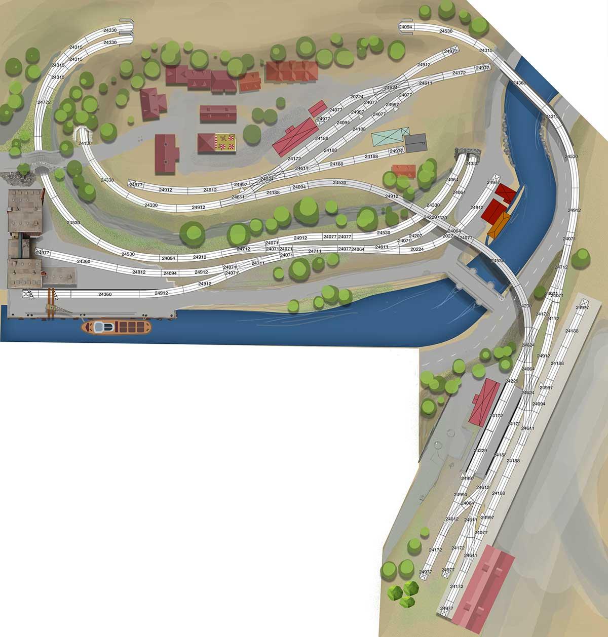 Gleisplan Leben am Fluss mit 2 Bahnhöfen, Industrie und Stadt