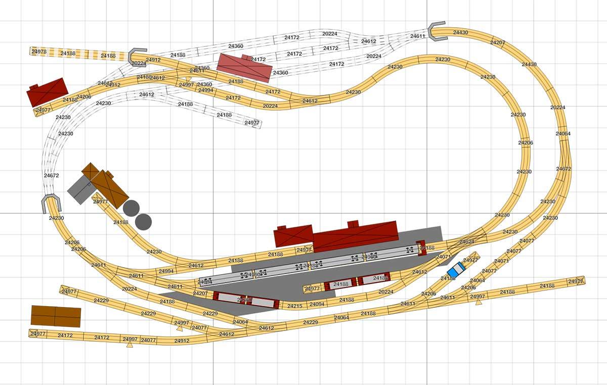 H0 Gleisplan: Personenverkehr mit Anschluss nach Fahrplan