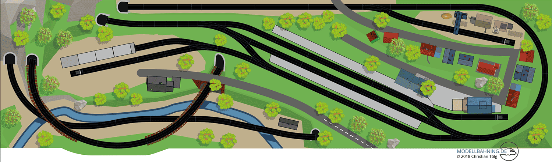 Gleisplan Märklin C-Gleis auf 3,7 x 1 Meter