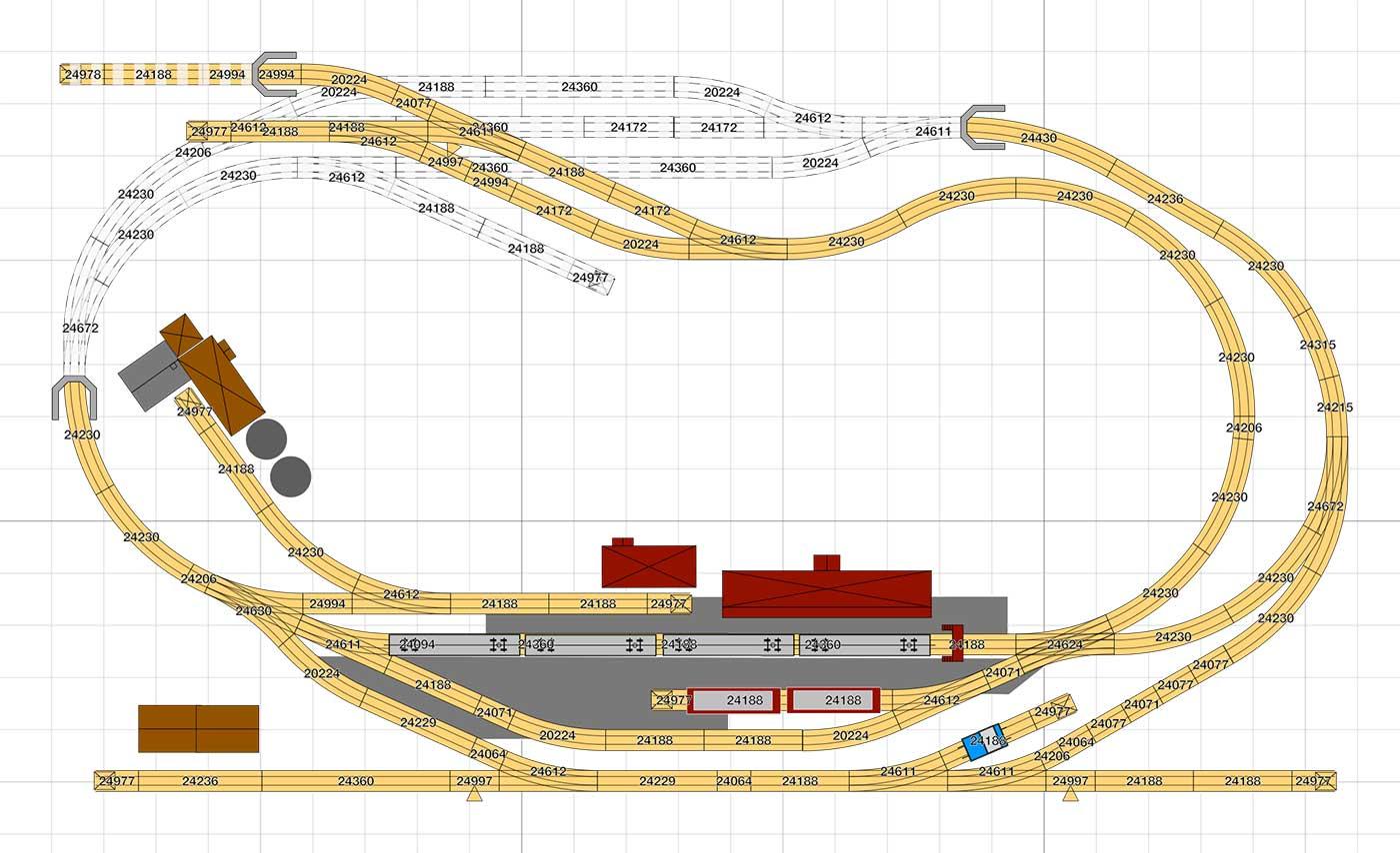 H0 Gleisplan: Personenverkehr mit Anschluss nach Fahrplan auf 2,6 x 1,6m