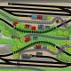 Gleisplan doppeltes Oval mit Kreuzung