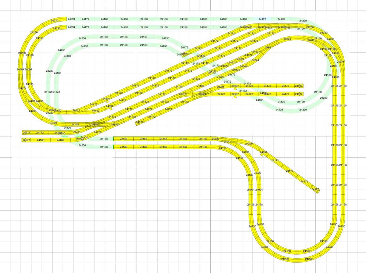 H0 Gleisplan für Modellbahnanlage in L-Form