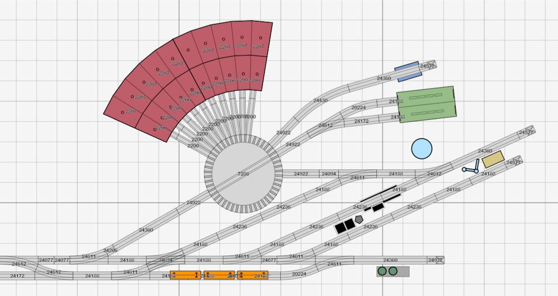 Gleisplan für ein kompaktes Bahnbetriebswerk