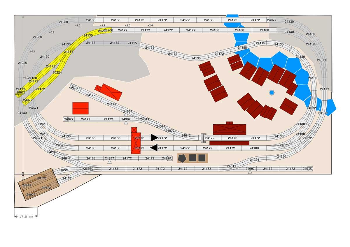 Märklin Gleisplan für C-Gleis mit Parallelgleis und Nebenstrecke auf 2,4 x 1,2 Meter.
