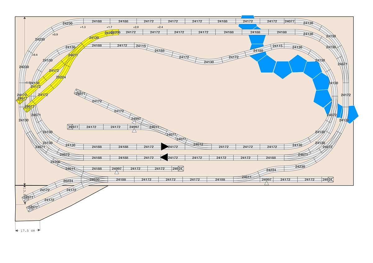 Märklin Gleisplan für C-Gleis mit Parallelstrecke und Nebenstrecke