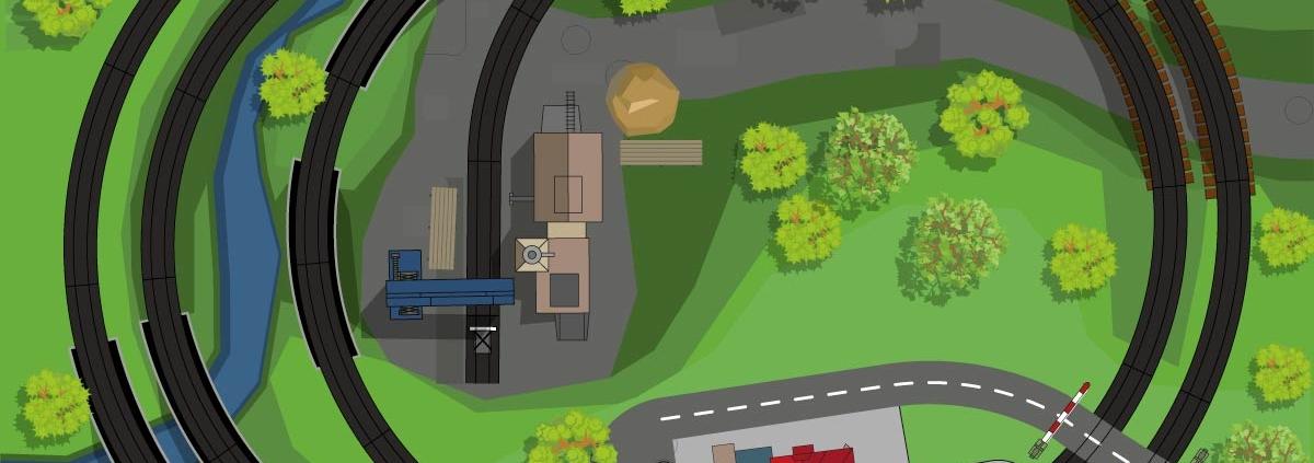 Gleisplan für Modellbahnanlage: Zweigleisige Strecke und Industrieanschluss auf 160cm x 120 cm.