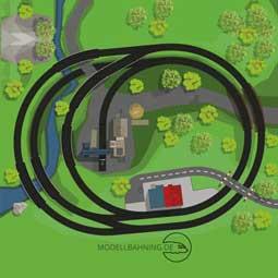 Gleisplan - Mini-Kreisanlage mit zwei Ovalen, Bahnhof und Gleisanschluss