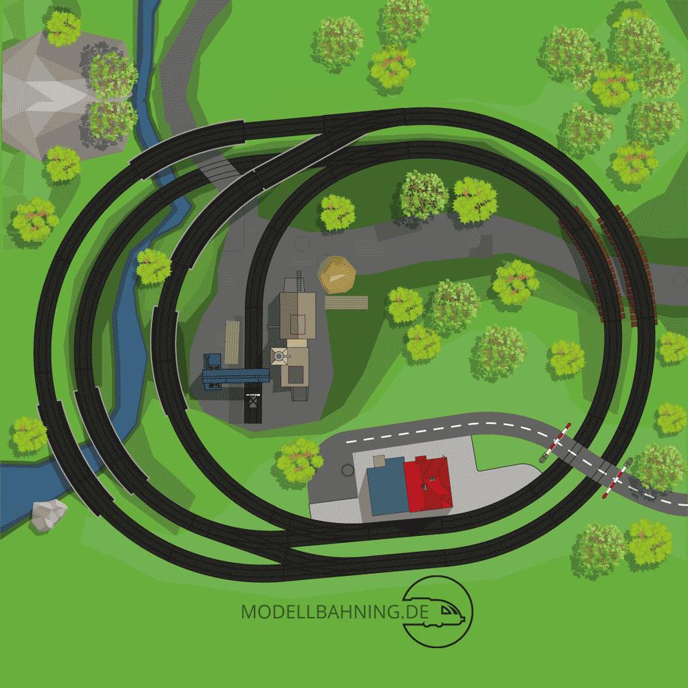 Gleispläne: Illustrierter Gleisplan einer Mini-Kreisanlage für das Märklin C Gleis