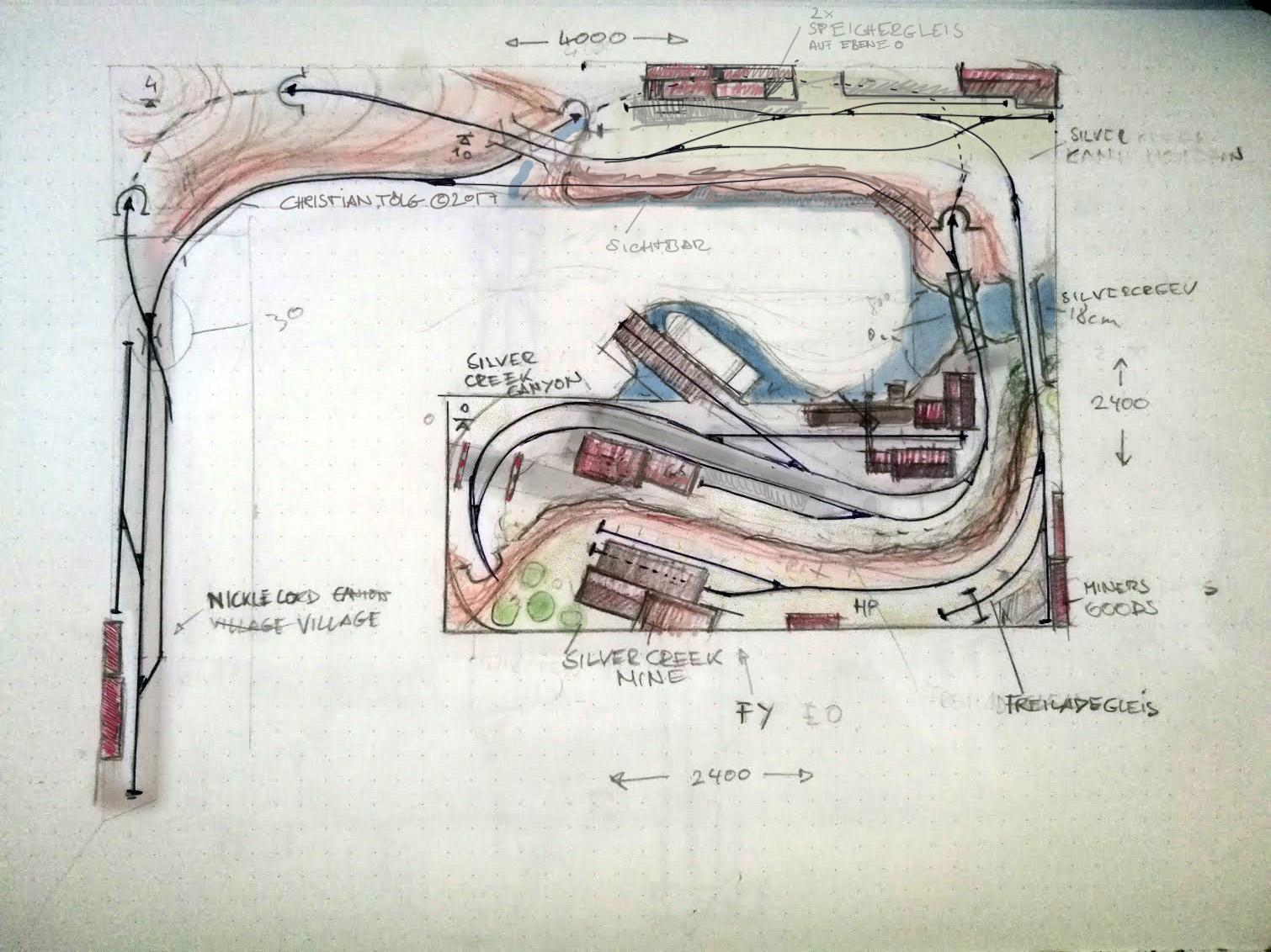 Gleisplan Silver Creek Canyon erste Skizze