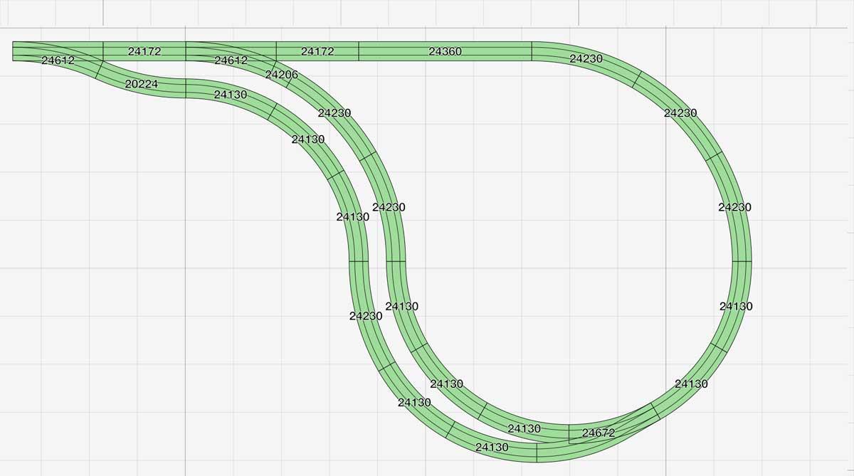 Darstellung der Parallel-Erweiterung für die enge H0 Kehrschleife aus Märklin C-Gleisen.