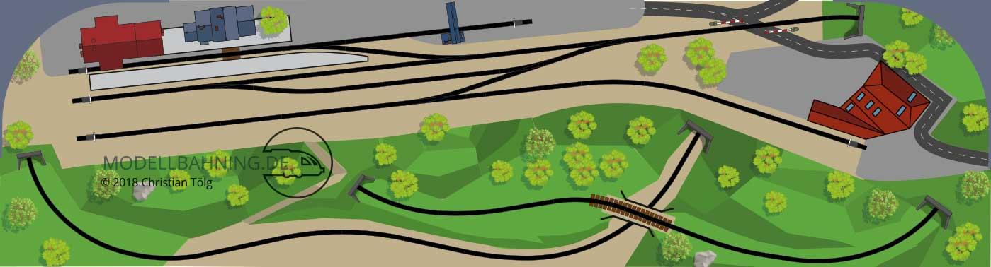 Gestaltungsvorschlag für den Gleisplan Point to Pont Spirale zum Endbahnhof auf 3,7 x 1 Meter