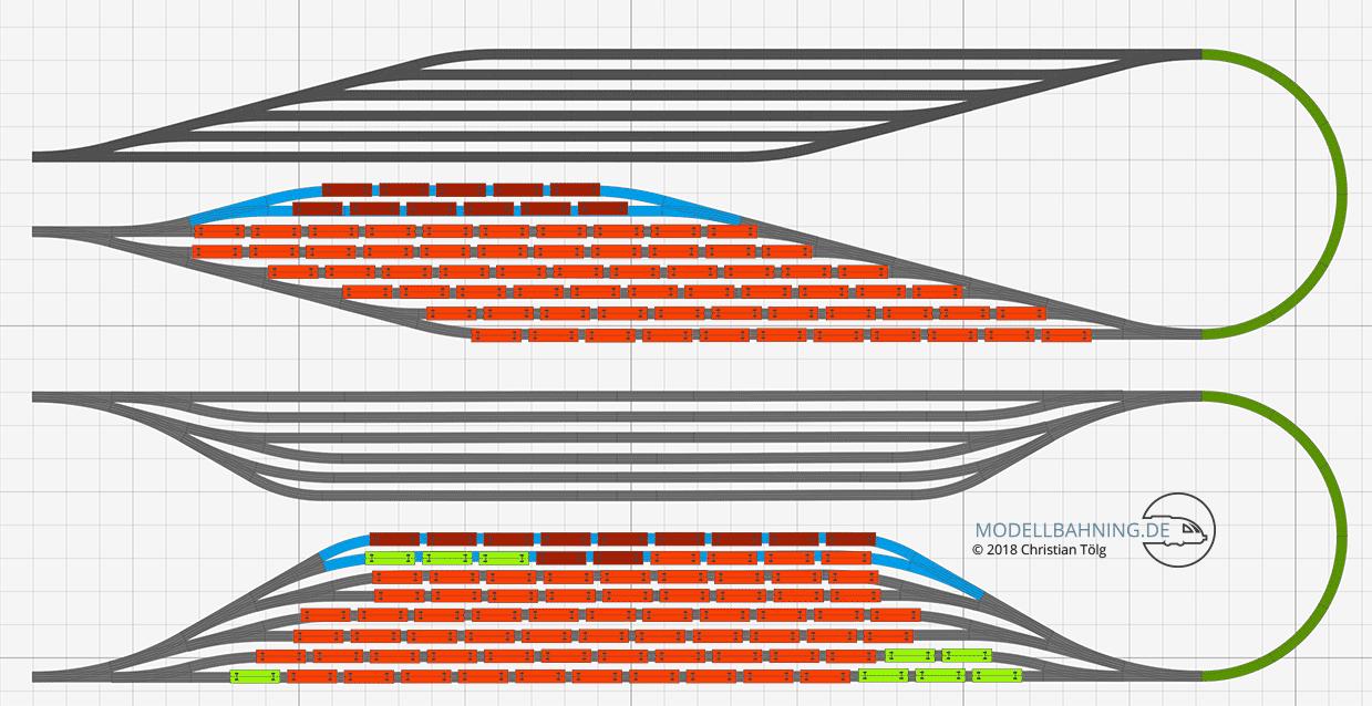 Schattenbahnhof Gegenüberstellung Gleisplan Modellbahn