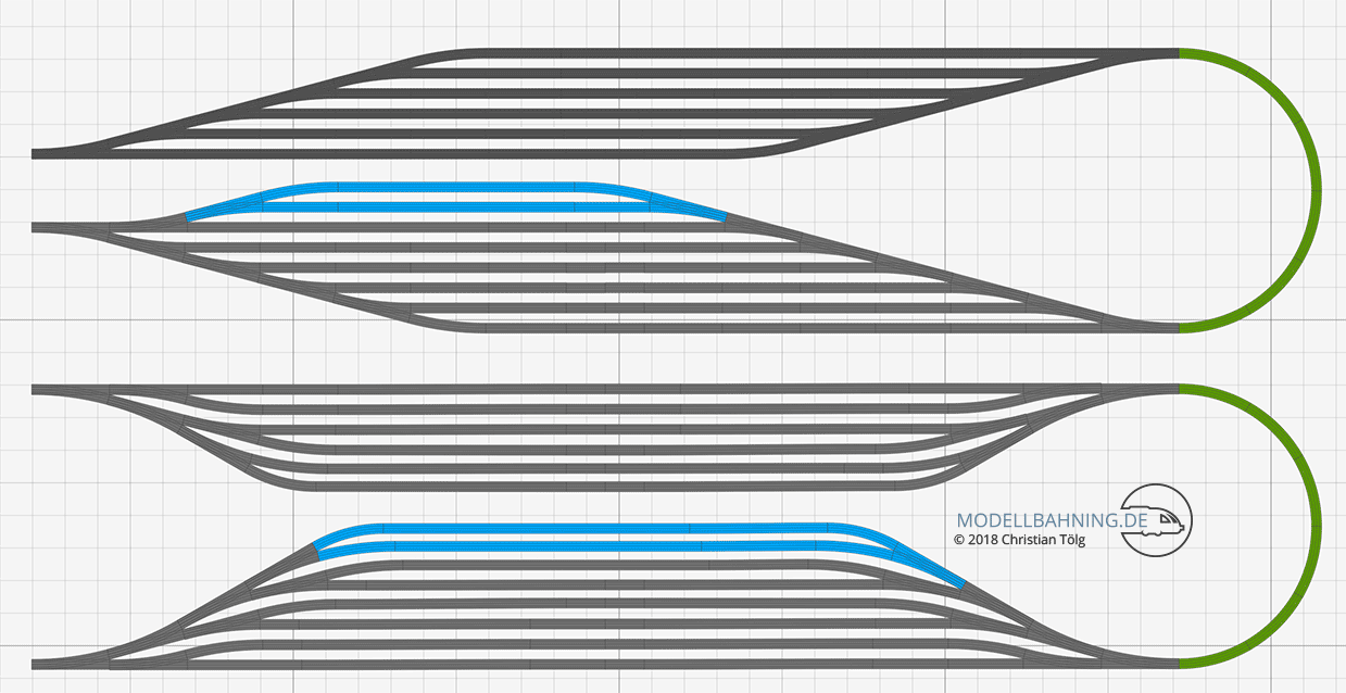 Schattenbahnhof Gegenüberstellung Modellbahn-Gleispläne