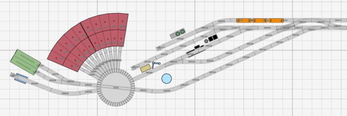Schlankes Bahnbetriebswerk für Dampflokomotiven mit allen Stationen zur Lokbehandlung