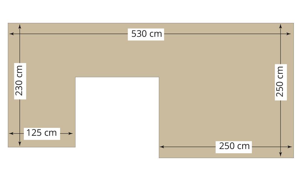 Abmessungen der zur Verfügung stehenden Fläche