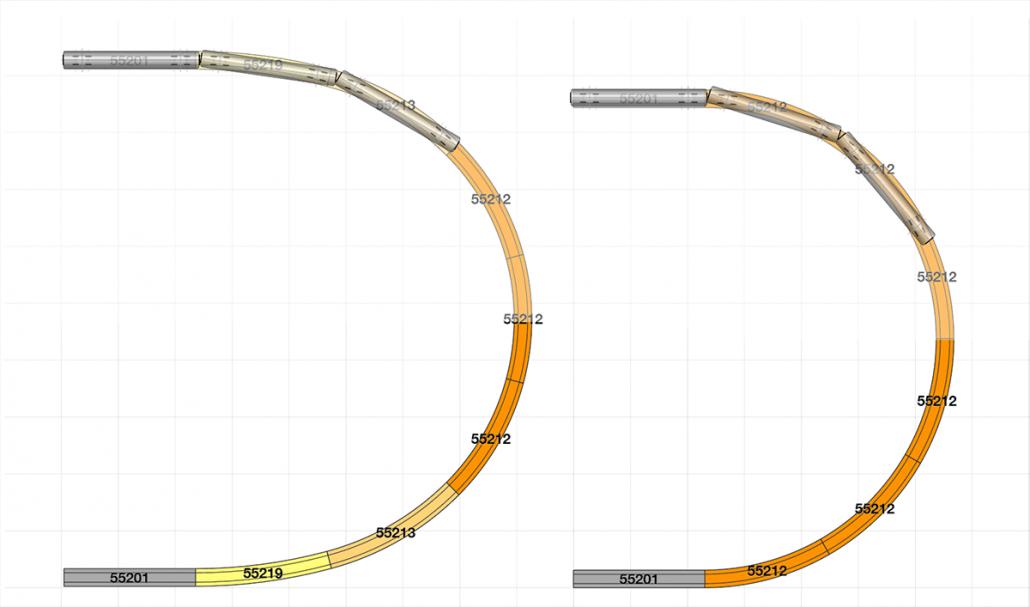 Eine harmonischere 180° Kehre vs. einer herkömmlichen Kehre am Beispiel des PIKO A Gleis