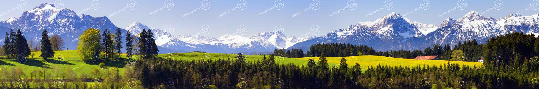 Landschaft in Bayern mit Alpenpanorama Modellbahnhintergrund auf 3 x 0,5 Meter