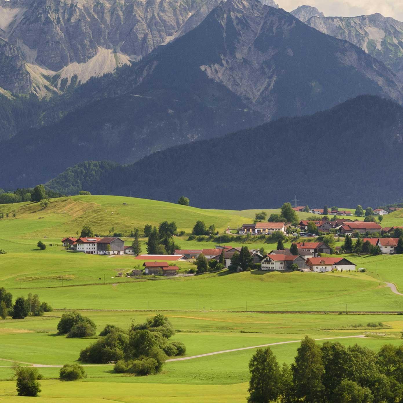 """Modellbahn Hintergrund """"Schwangau im Allgäu"""" 1"""