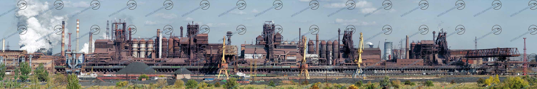 Modellbahn-Kulisse, Modellbahn Hintergründe Industrie-Panorama: Stahlhütte mit Hochofen