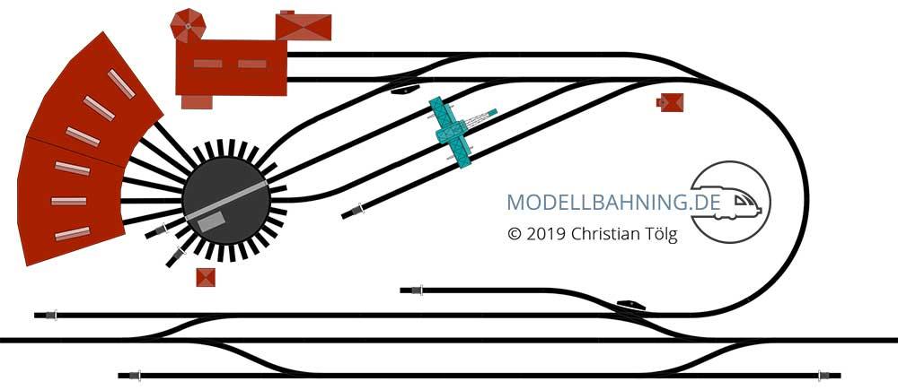 Gleisplan für ein Bahnbetriebswerk kompakt mit dem C-Gleis