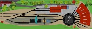 Bahnbetriebswerk BW mit dem Märklin C-Gleis
